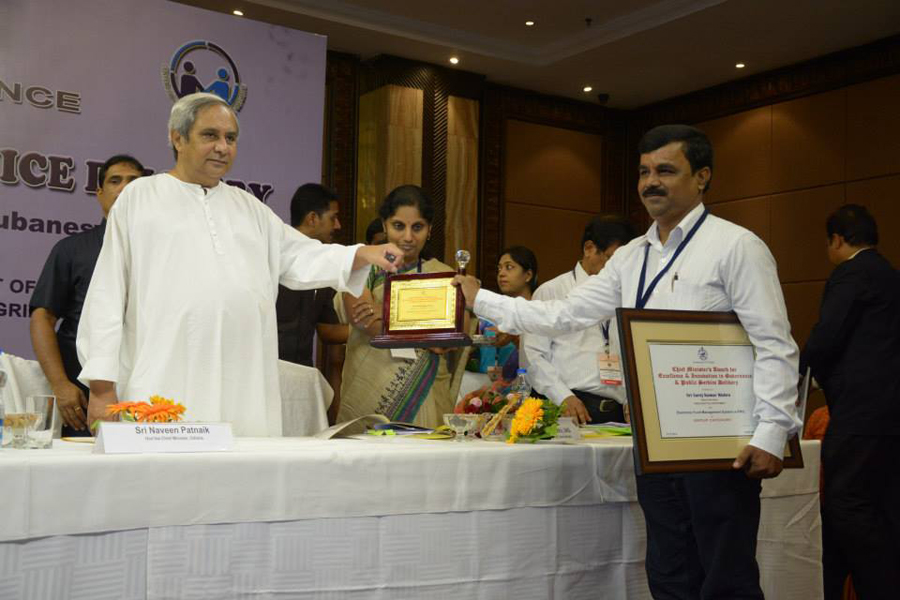 Shri Achyuta Nanda Prusty, Sr.DEO, was receiving award from honorable Chief Minister Shri Naveen Pattnaik on 13th Nov 2014 at Hotel Mayfair, Bhubaneswar.
